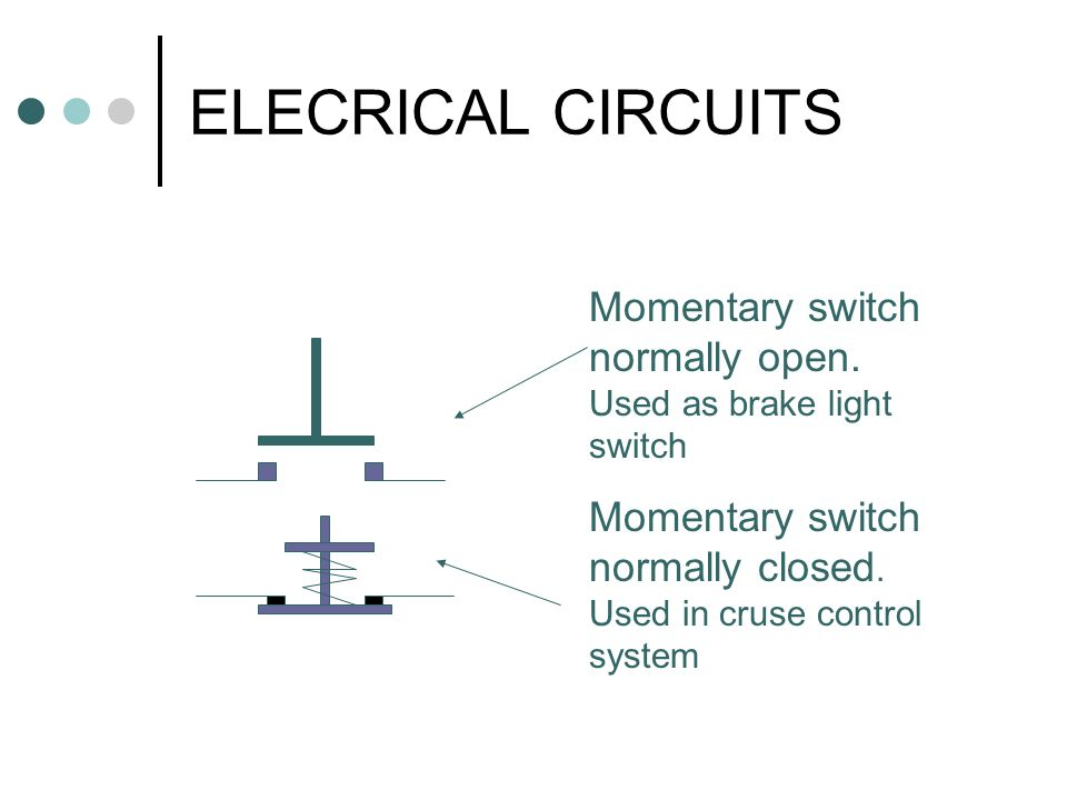 ELECRICAL CIRCUITS Momentary switch normally open.
