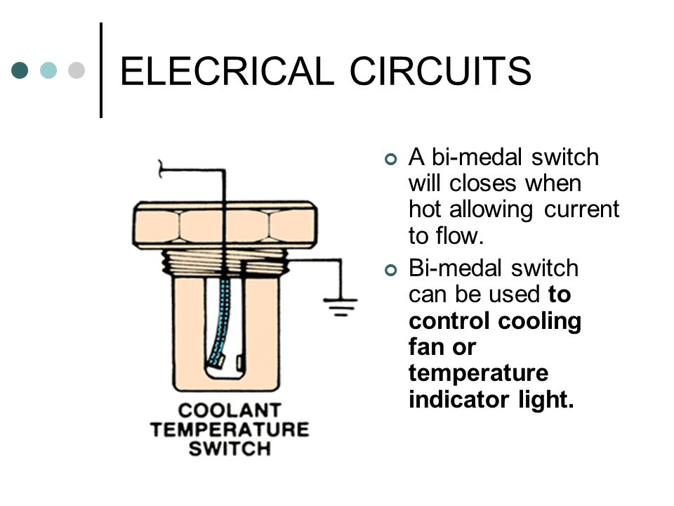 ELECRICAL CIRCUITS A bi-medal switch will closes when hot allowing current to flow.
