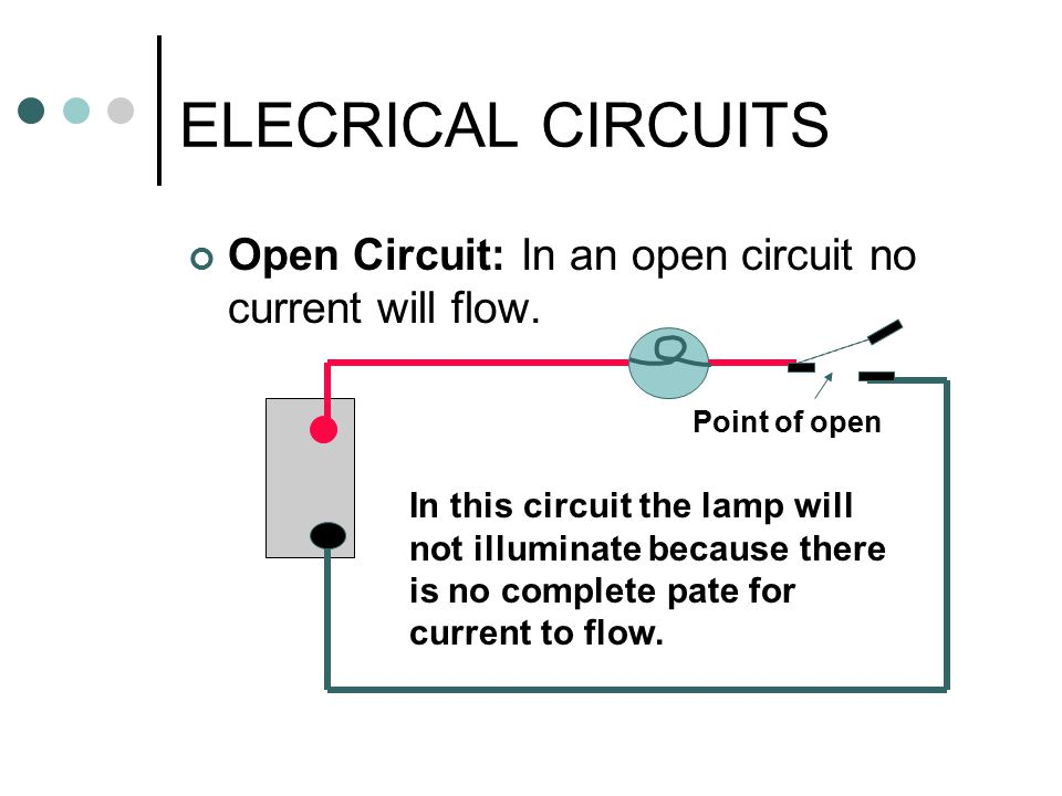 ELECRICAL CIRCUITS Open Circuit: In an open circuit no current will flow. Point of open.