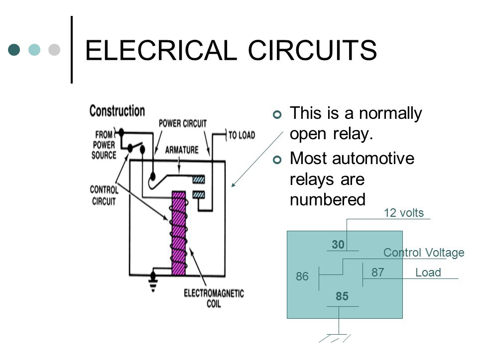 ELECRICAL CIRCUITS This is a normally open relay.