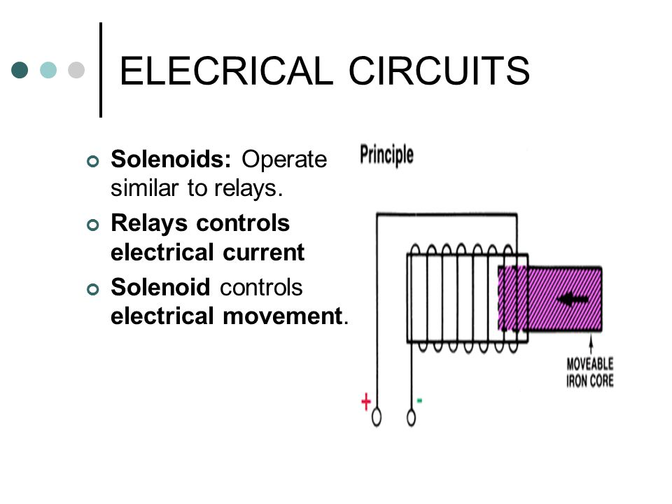 ELECRICAL CIRCUITS Solenoids: Operate similar to relays.