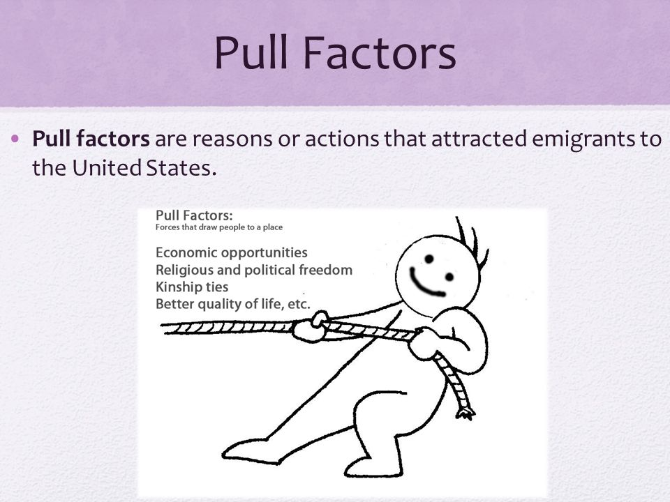 Pull Factors Pull factors are reasons or actions that attracted emigrants to the United States.