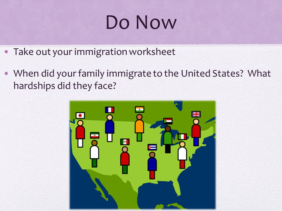 Do Now Take out your immigration worksheet