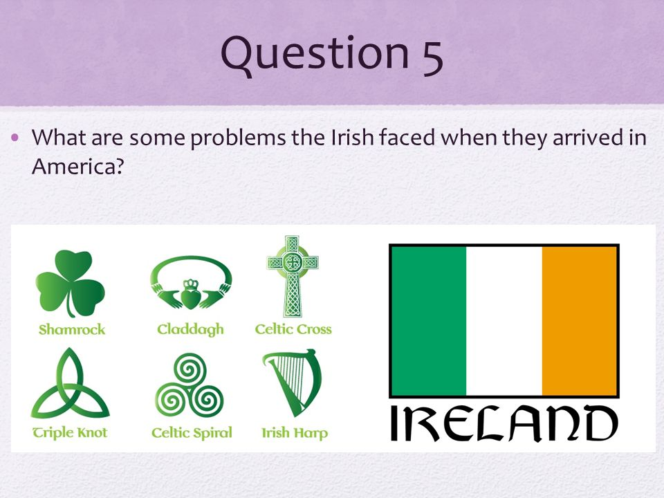 Question 5 What are some problems the Irish faced when they arrived in America