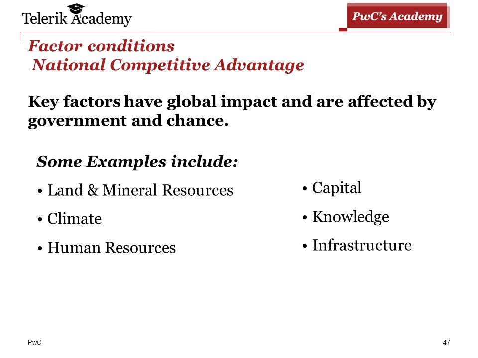 determining factors of national advantage National competitive advantage is an assessment of a nation's ability to participate competitively in international marketssome nations have more advantages than others, for a variety of reasons to promote economic growth, governments can identify their strengths and weaknesses and play upon them to increase their national competitive advantage.