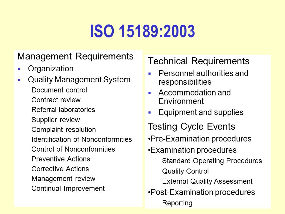 Iso 15189 standards