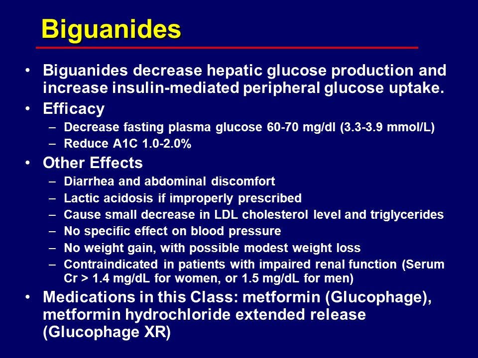Biguanides Biguanides decrease hepatic glucose production and increase insulin-mediated peripheral glucose uptake.