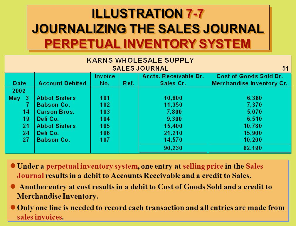 ILLUSTRATION 7-7 JOURNALIZING THE SALES JOURNAL PERPETUAL INVENTORY SYSTEM