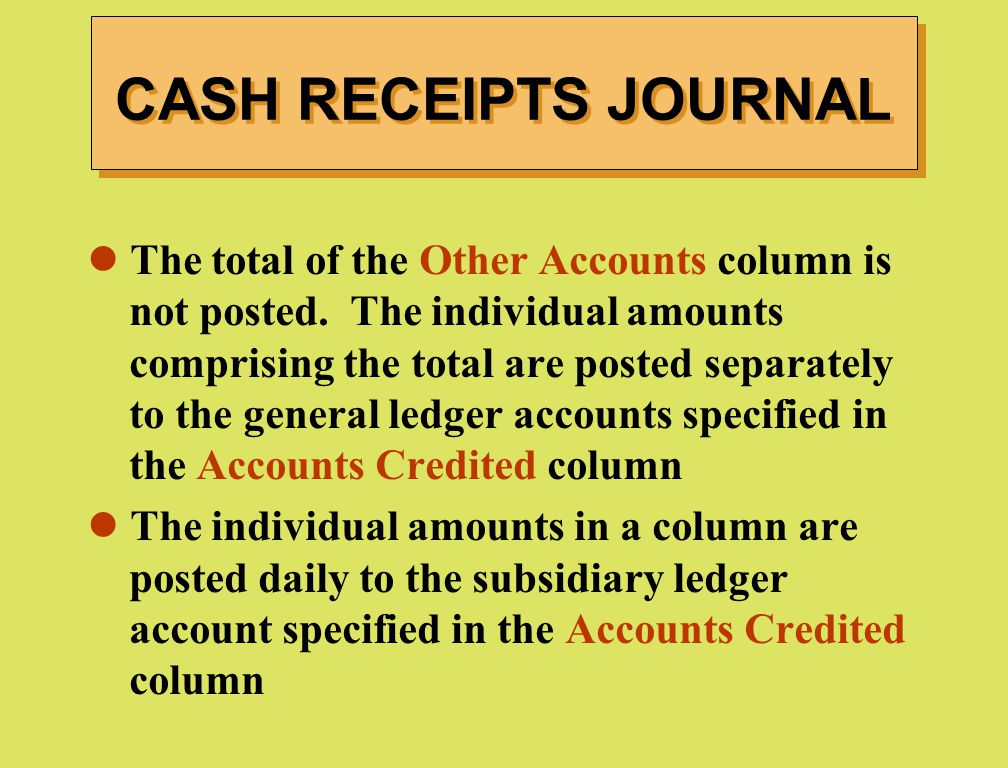 CASH RECEIPTS JOURNAL