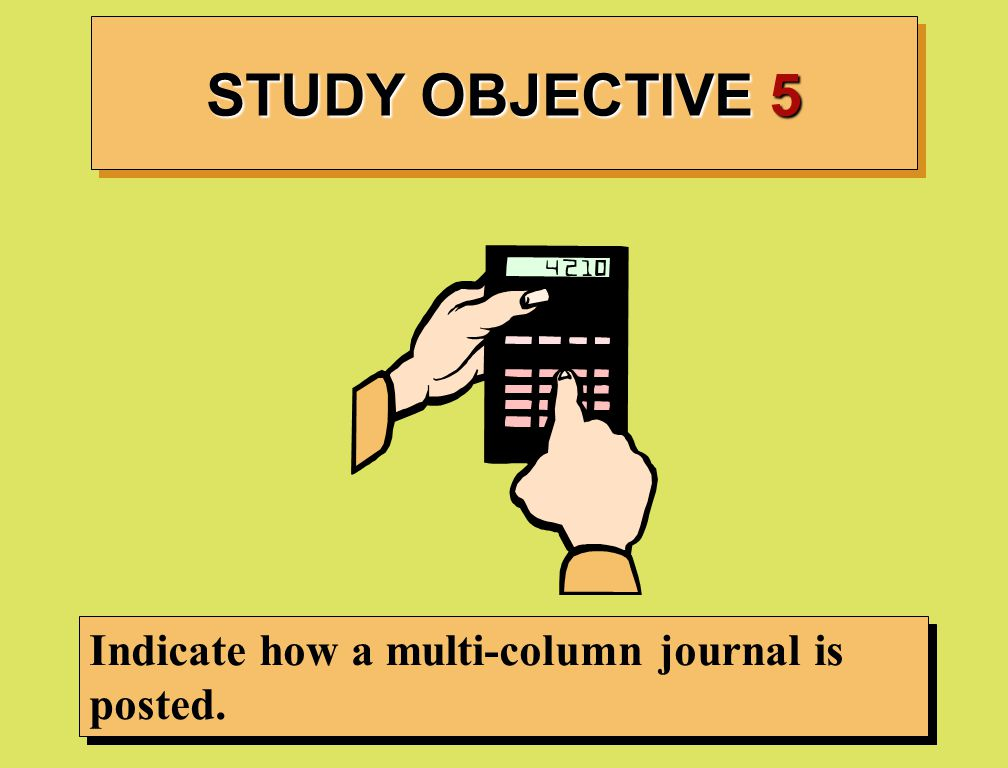 STUDY OBJECTIVE 5 Indicate how a multi-column journal is posted.