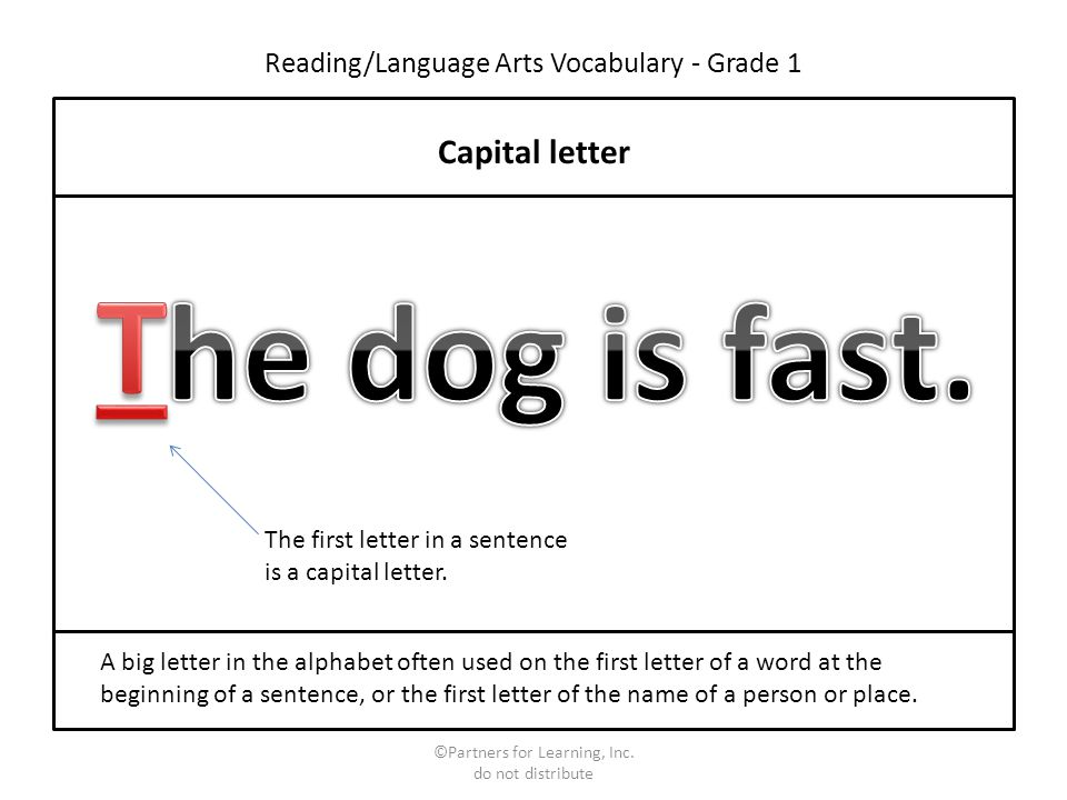 Capital Letter Beginning Sentence.Reading Language Arts Vocabulary Grade 1 Ppt Download