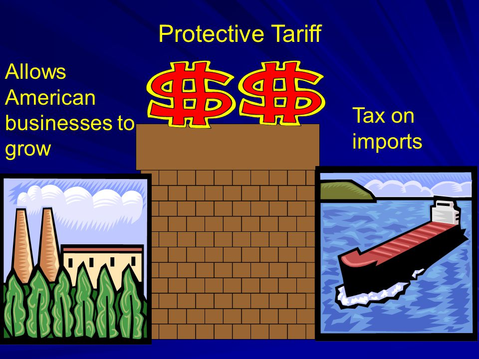 Protective Tariff Allows American businesses to grow Tax on imports