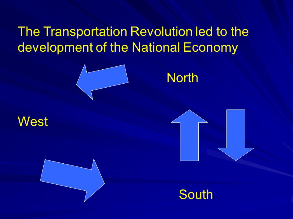 The Transportation Revolution led to the development of the National Economy