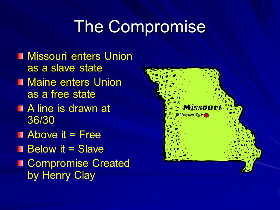 The Compromise Missouri enters Union as a slave state