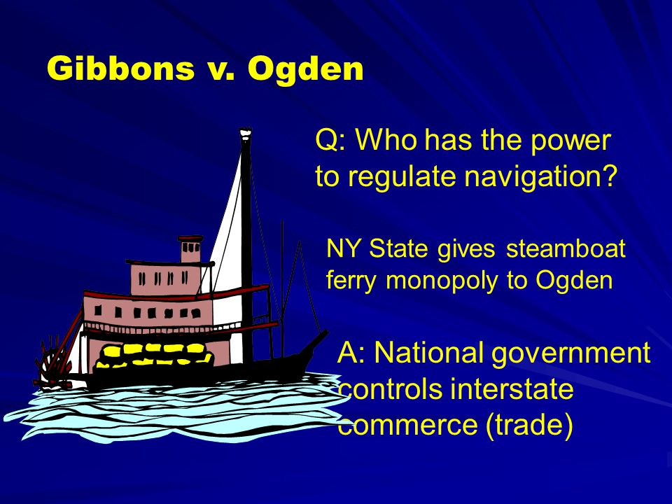 Gibbons v. Ogden Q: Who has the power to regulate navigation
