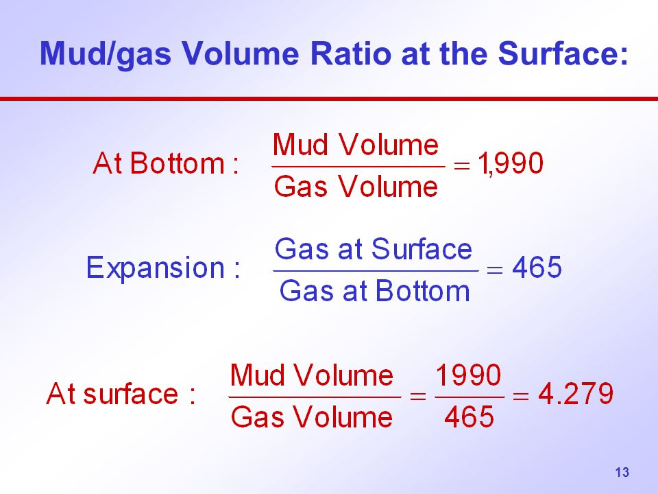 Mud/gas Volume Ratio at the Surface: