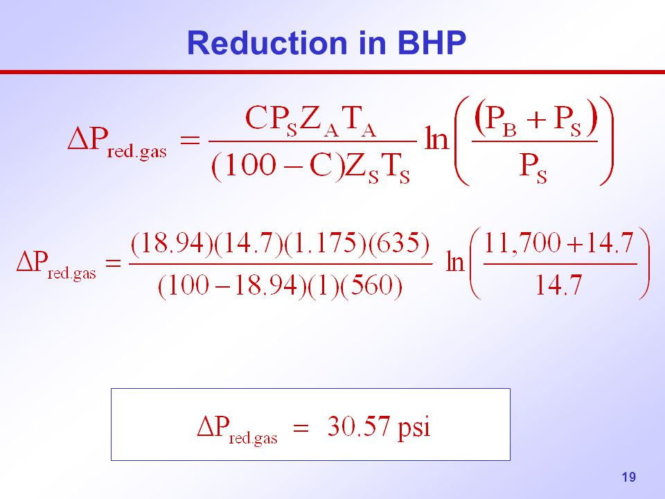 Reduction in BHP
