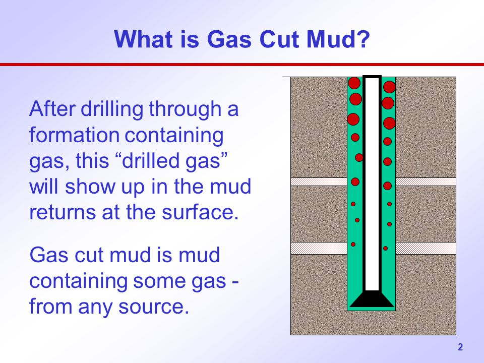 What is Gas Cut Mud After drilling through a formation containing gas, this drilled gas will show up in the mud returns at the surface.