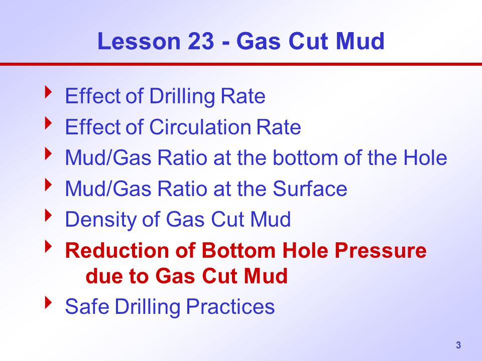 Lesson 23 - Gas Cut Mud Effect of Drilling Rate