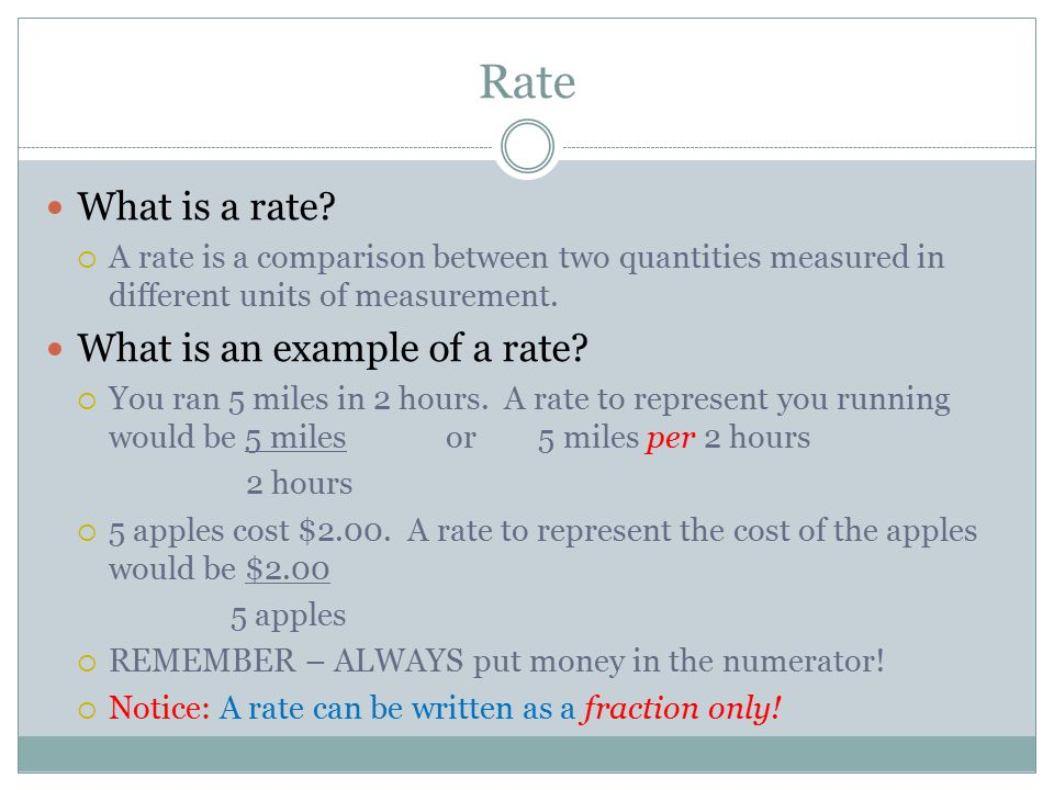 Rate What Is A An Example Of