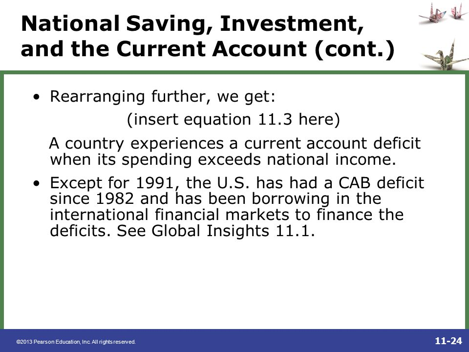 National Saving, Investment, and the Current Account (cont.)