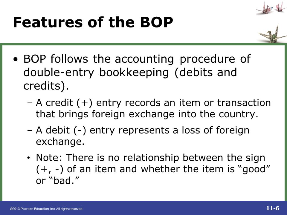Features of the BOP BOP follows the accounting procedure of double-entry bookkeeping (debits and credits).