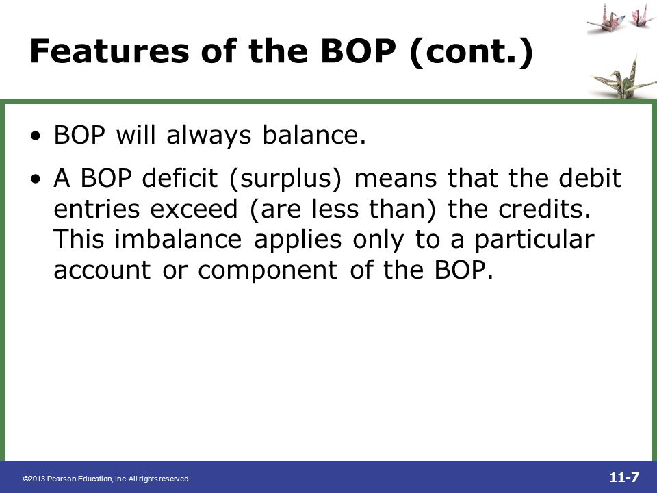 Features of the BOP (cont.)