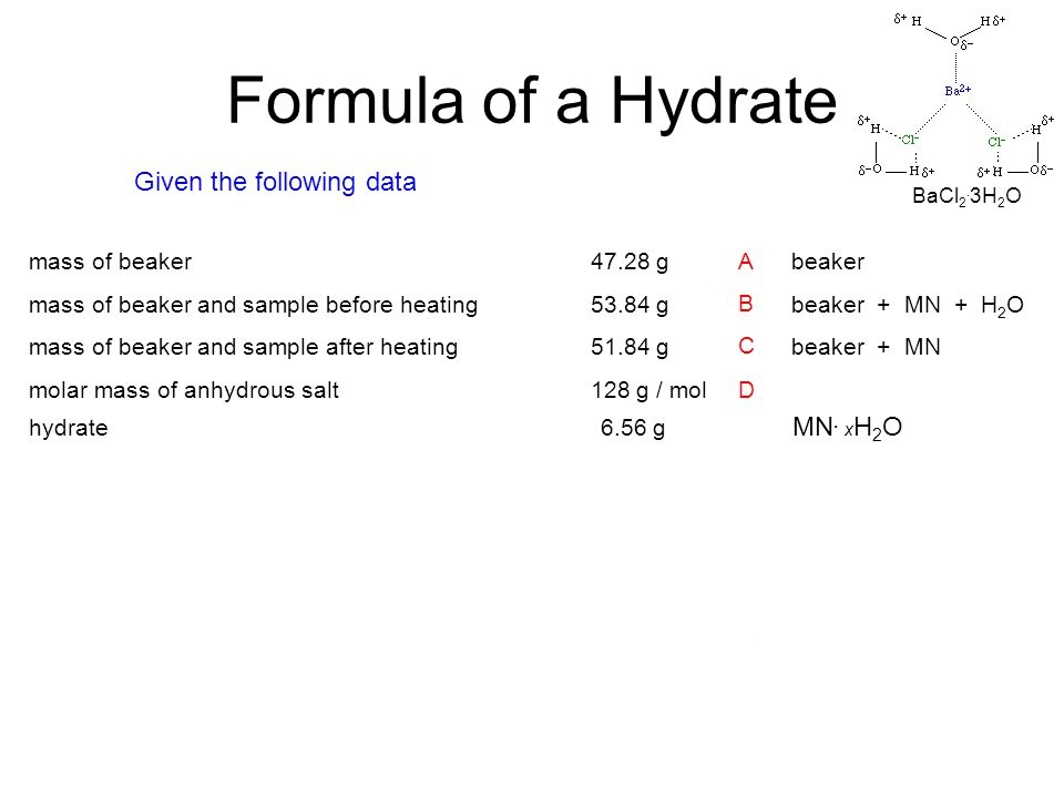 how to find x in a hydrate