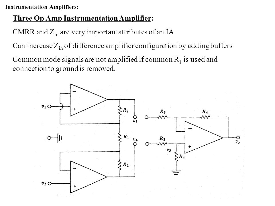 Three Op Amp Instrumentation Amplifier: