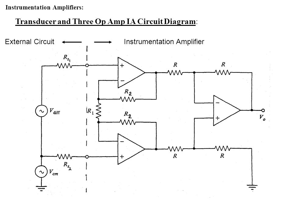 Transducer and Three Op Amp IA Circuit Diagram: