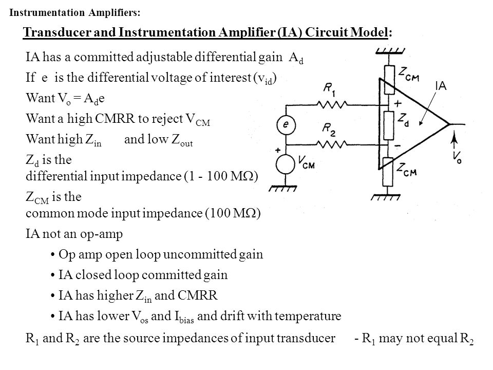 Transducer and Instrumentation Amplifier (IA) Circuit Model: