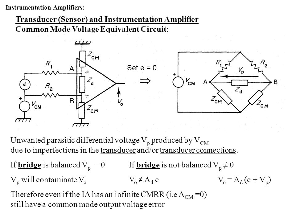 If bridge is balanced Vp = 0 If bridge is not balanced Vp ≠ 0