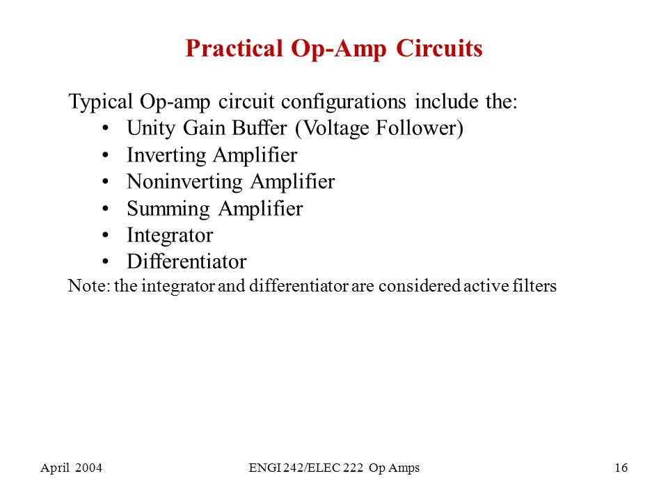 Practical Op-Amp Circuits