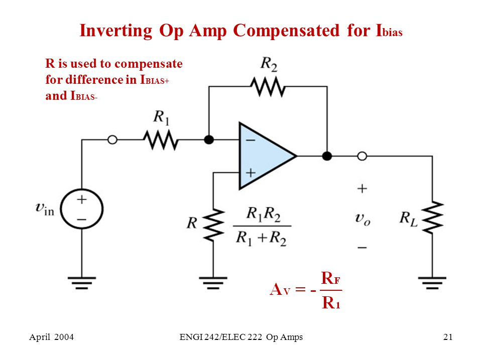 Inverting Op Amp Compensated for Ibias