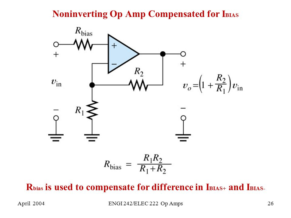Noninverting Op Amp Compensated for IBIAS