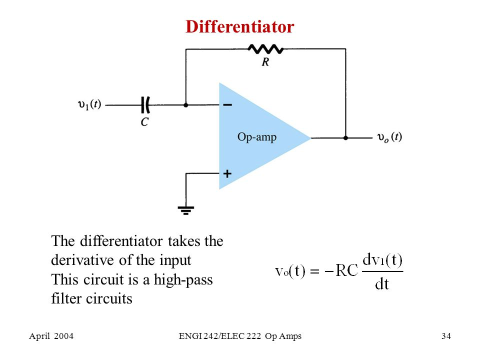Differentiator The differentiator takes the derivative of the input