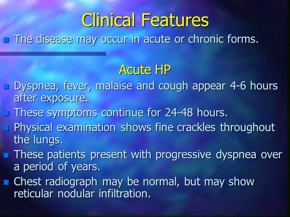 Clinical Features Acute HP