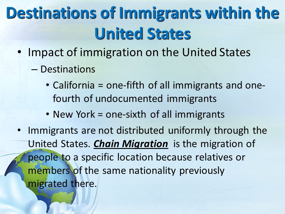 Destinations of Immigrants within the United States