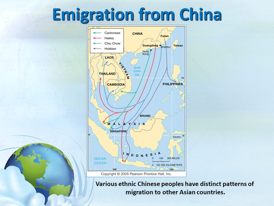Emigration from China Various ethnic Chinese peoples have distinct patterns of.