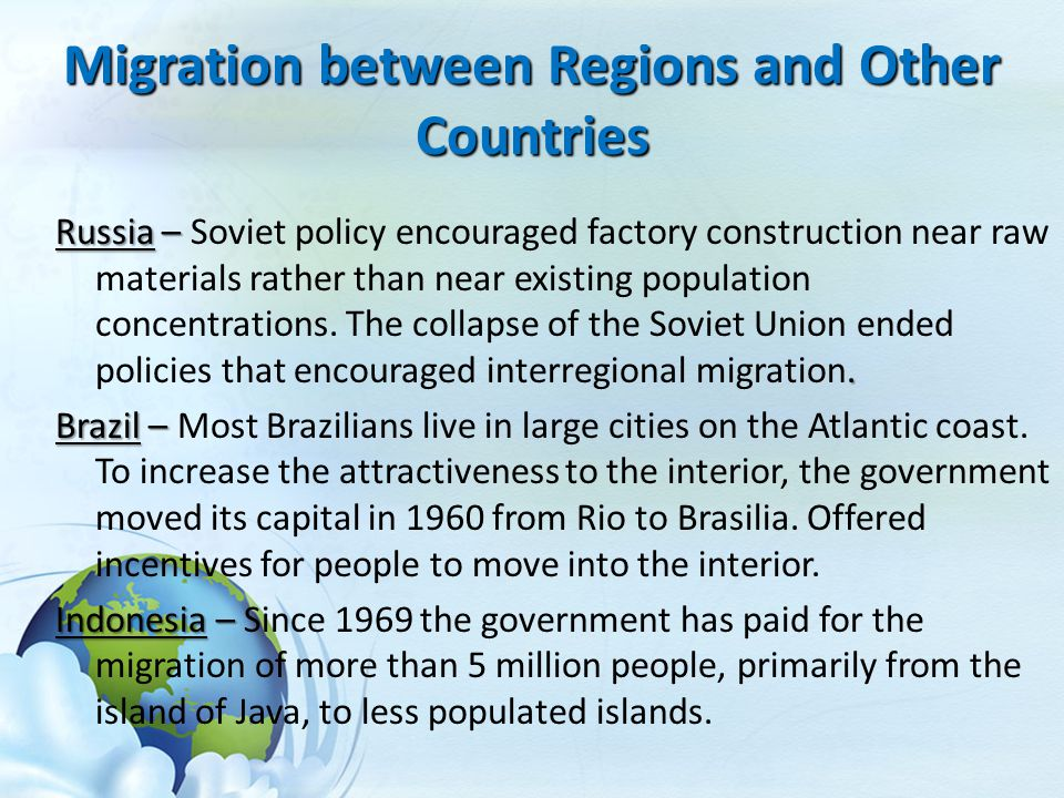 Migration between Regions and Other Countries