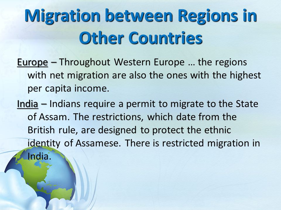 Migration between Regions in Other Countries