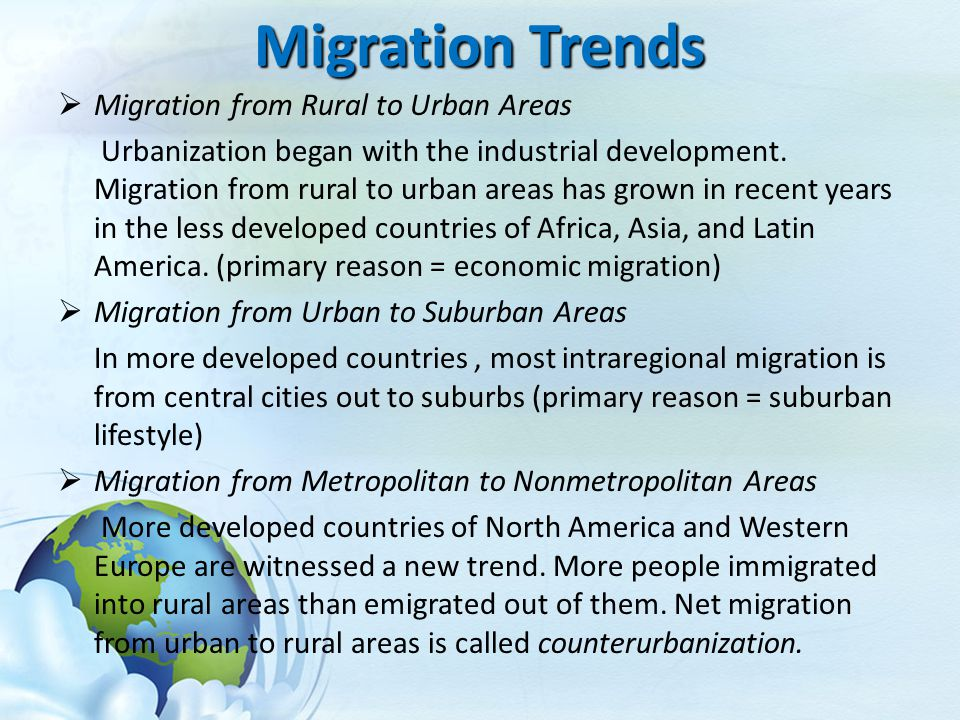 Migration Trends Migration from Rural to Urban Areas