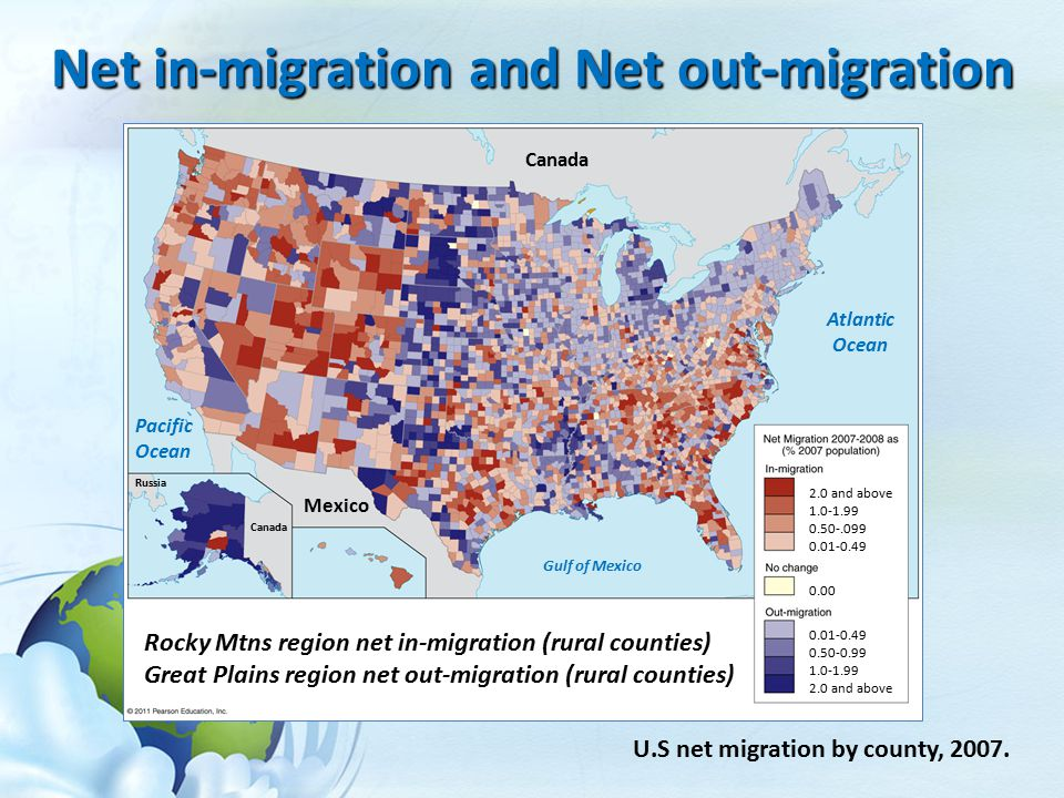Net in-migration and Net out-migration