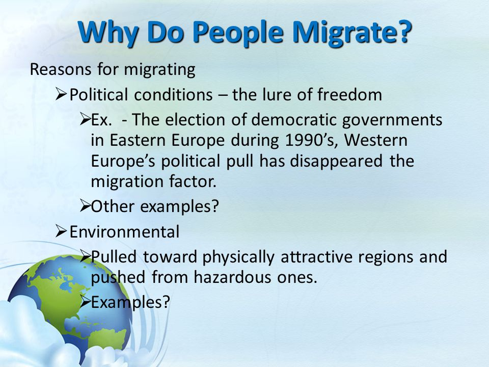 Why Do People Migrate Reasons for migrating