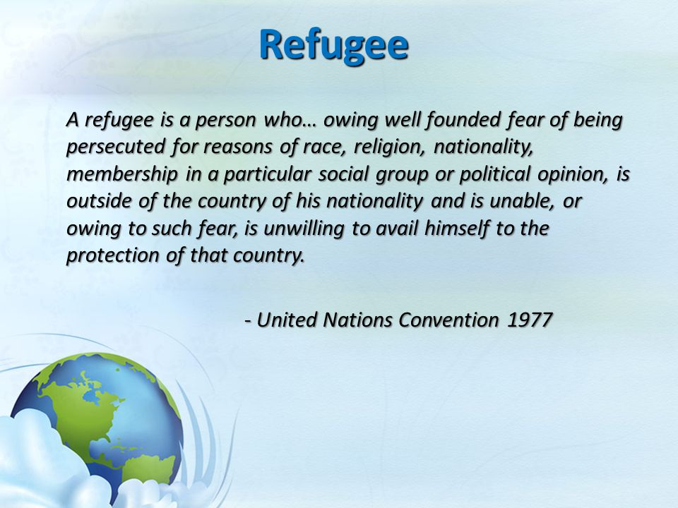 Refugee - United Nations Convention 1977