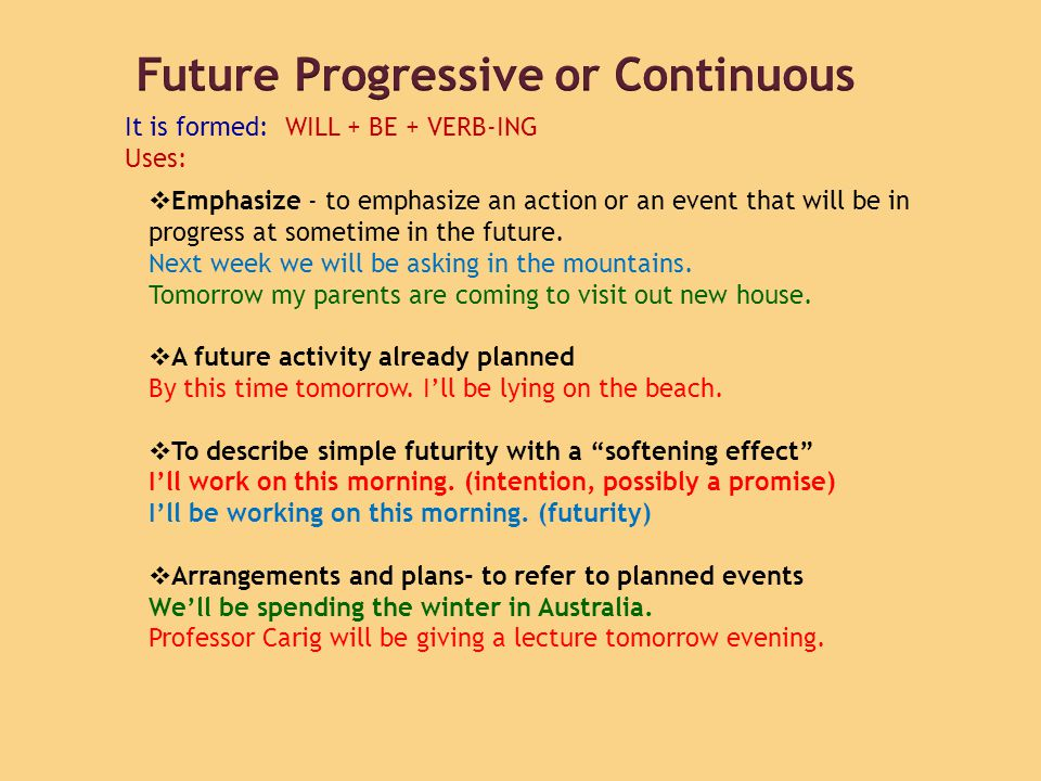 Future Progressive or Continuous