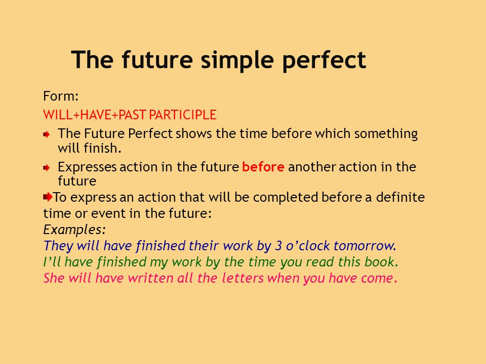 The future simple perfect