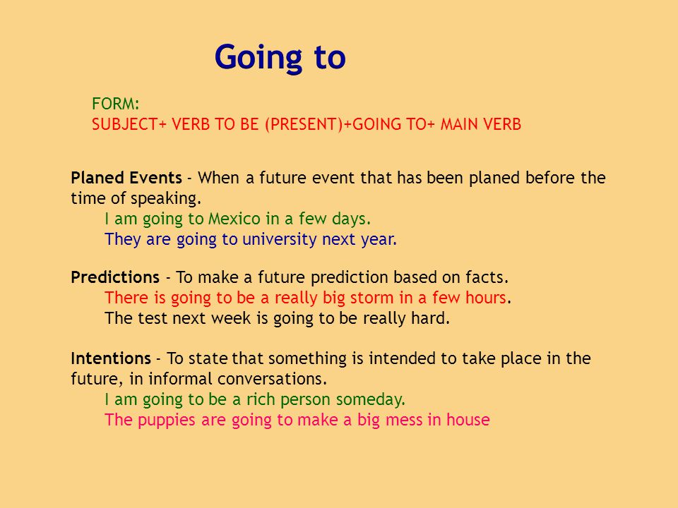 Going to FORM: SUBJECT+ VERB TO BE (PRESENT)+GOING TO+ MAIN VERB