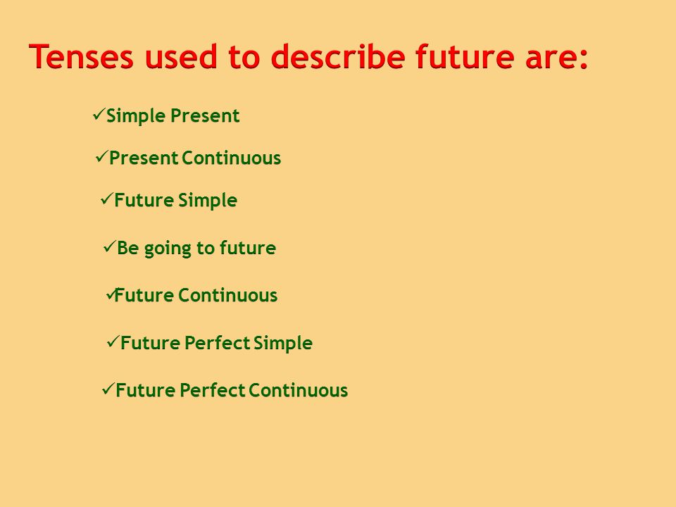 Tenses used to describe future are: Future Perfect Continuous