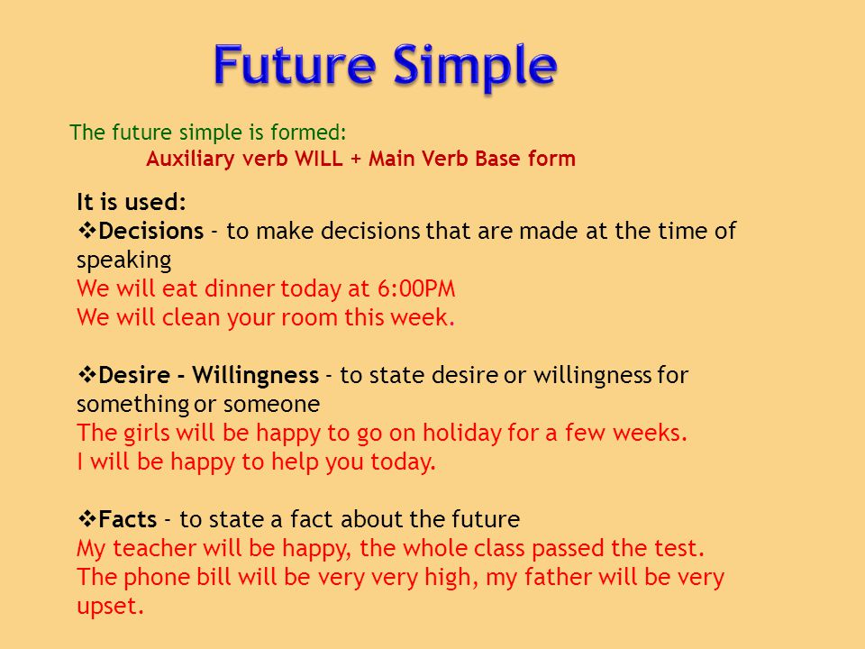 Auxiliary verb WILL + Main Verb Base form